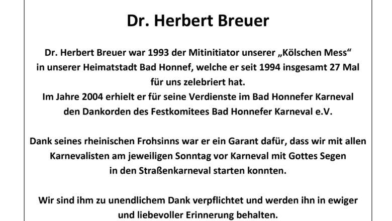 Nachruf Dr. Herbert Breuer